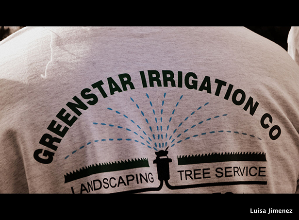 Greenstar Landscaping logo Shirt closeup